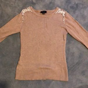 BCX sweater with pearls and beads at Shoulder